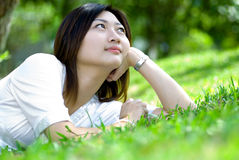 Woman relaxing in nature Royalty Free Stock Photos