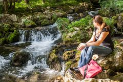Woman Relaxing Nature Creek Royalty Free Stock Photo