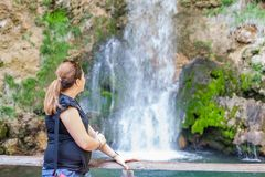Woman Relaxing Nature Waterfall Stock Photography