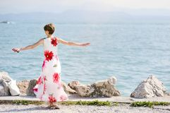 Woman relaxing near the Lake Garda Stock Photography