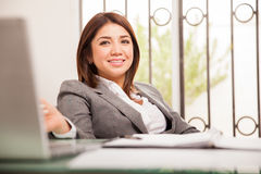 Woman relaxing at the office Stock Photography