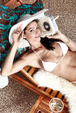 Woman Relaxing On Vacation Stock Images