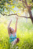 Woman relaxing outdoors Royalty Free Stock Photos