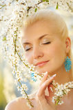 Woman relaxing outdoors Royalty Free Stock Images