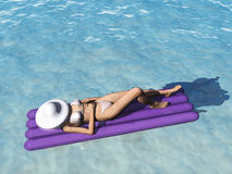 Woman relaxing in pool. A woman in water lying on a pool mattress, relaxing with a hat over her head. (The woman is a computer generated 3d model so no model Stock Images