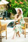 Woman relaxing at resort Royalty Free Stock Photos