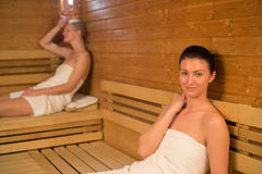 Woman relaxing in sauna Royalty Free Stock Photography