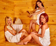 Woman relaxing in sauna Royalty Free Stock Photo