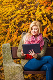 Woman relaxing sitting on bench in park using tablet Stock Photos