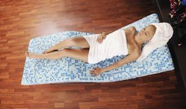 Woman relaxing at spa Royalty Free Stock Images