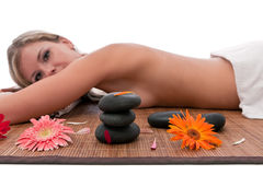 Woman relaxing  in spa Stock Images