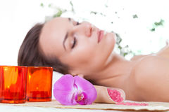Woman relaxing at spa Stock Photography