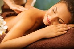Woman relaxing in a spa Stock Image