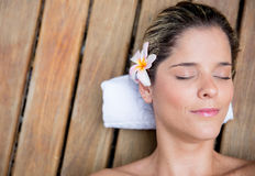 Woman relaxing at the spa Royalty Free Stock Image