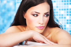 Woman relaxing in spa center. Pretty woman relaxing in spa center royalty free stock photography