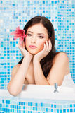 Woman relaxing in spa center Royalty Free Stock Images