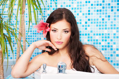 Woman relaxing in spa center Royalty Free Stock Photo