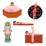 Woman relaxing in spa - foam bath, stone massage, clay mask. Woman relaxing in spa - foot, foam bath, stone massage, clay mask, cartoon vector illustration on Royalty Free Stock Photography