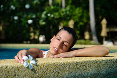 Woman relaxing in spa jacuzzi pool outdoor Stock Images