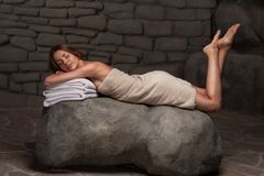 Woman relaxing in spa resort Royalty Free Stock Photo