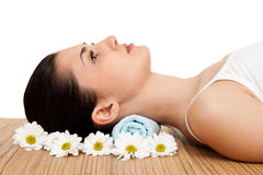 Woman relaxing in a spa salon Stock Images