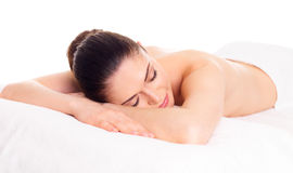 Woman relaxing in spa salon Stock Photos