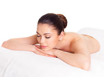 Woman relaxing in spa salon royalty free stock photography