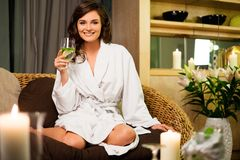 Woman relaxing in spa salon Royalty Free Stock Photo