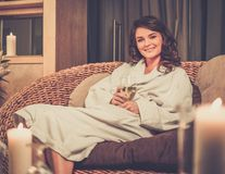 Woman relaxing in spa salon Stock Image