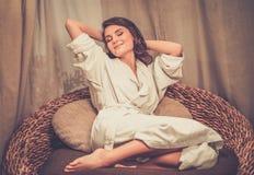 Woman relaxing in spa salon Stock Photo