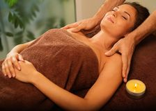 Woman relaxing in a spa salon Royalty Free Stock Image