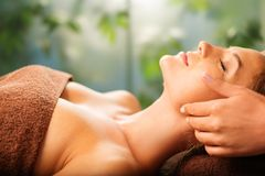 Woman relaxing in a spa salon Royalty Free Stock Photo