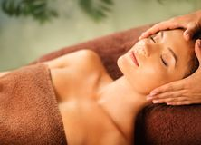 Woman relaxing in a spa salon Stock Photo