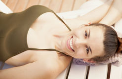 Woman relaxing in spa Royalty Free Stock Images