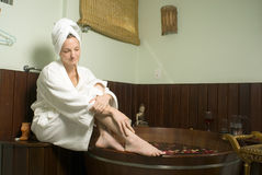 Woman Relaxing by a Spa Tub - Horizontal Stock Images