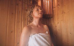 Woman relaxing in spa royalty free stock photos