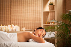 Woman Relaxing at a Spa Stock Photos