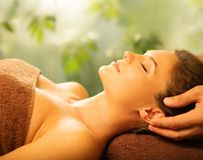 Woman relaxing in a spa Stock Photo