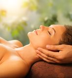 Woman relaxing in a spa Royalty Free Stock Images