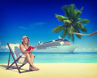 Woman Relaxing Summer Beach Holiday Concept Royalty Free Stock Image