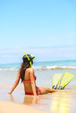 Woman relaxing on summer beach vacation holidays Stock Photos