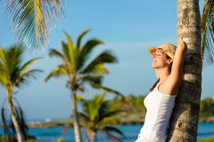 Woman relaxing on summer tropical caribbean travel royalty free stock photos