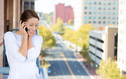 Woman relaxing talking on cell phone Stock Photo