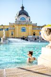 Woman relaxing at the thermal bathes in Budapest Royalty Free Stock Photography