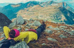 Woman Relaxing on a Trail stock images