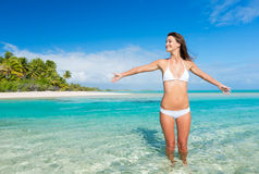 Woman Relaxing on Tropical Beach Stock Photos