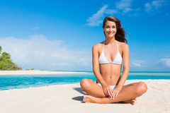Woman Relaxing on Tropical Island Royalty Free Stock Images