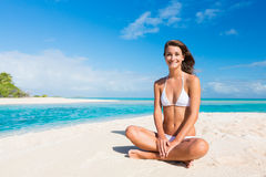 Woman Relaxing on Tropical Island Royalty Free Stock Photo