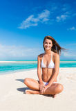 Woman Relaxing on Tropical Island Royalty Free Stock Image