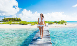 Woman Relaxing Tropical Island Stock Images